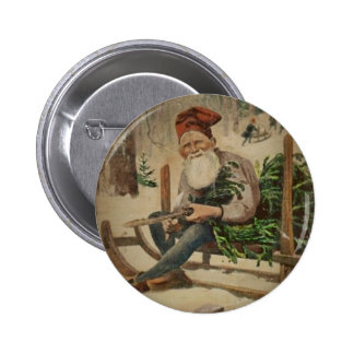 Tomte Trims the Tree 2 Inch Round Button
