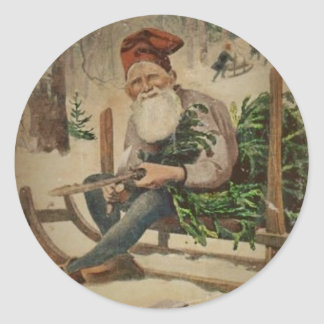 Tomte Trims the Tree Classic Round Sticker