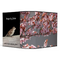 tomtit sitting in blooming cherry plum tree 3 ring binder