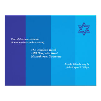 Tonal Blue Bar Mitzvah Reception Invitation