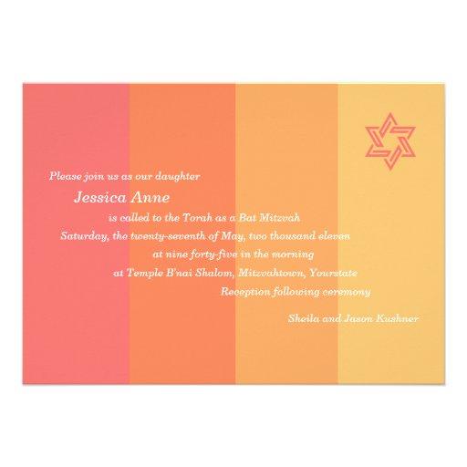 Tonal Citrus Bat Mitzvah invitation