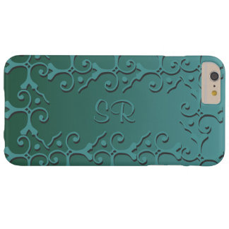 Tonal Elegance Teal Monogrammed Barely There iPhone 6 Plus Case