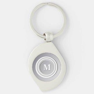 Tonal Elegance White Monogrammed Silver-Colored Swirl Metal Keychain