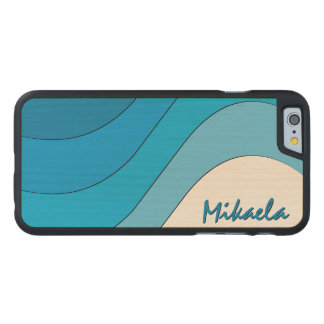 Tonal Wave Blue Striped Personalized Carved Maple iPhone 6 Slim Case