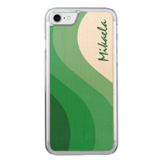 Tonal Wave Green Striped Carved iPhone 7 Case