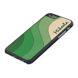 Tonal Wave Green Striped Personalized Carved Maple iPhone 6 Case
