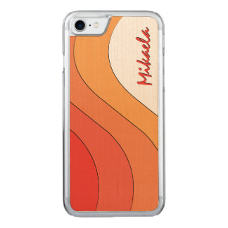 Tonal Wave Orange Striped Carved iPhone 7 Case