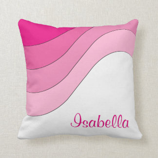 Tonal Wave Pink Custom Personalized Throw Pillow