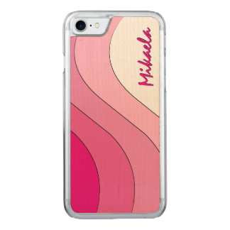 Tonal Wave Pink Striped Carved iPhone 7 Case