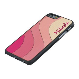 Tonal Wave Pink Striped Personalized Carved Maple iPhone 6 Slim Case