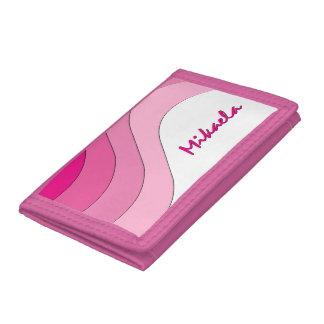Tonal Wave Pink Striped Personalized Tri-fold Wallets