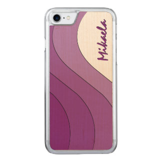 Tonal Wave Purple Striped Carved iPhone 7 Case