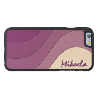 Tonal Wave Purple Striped Personalized Carved Maple iPhone 6 Slim Case