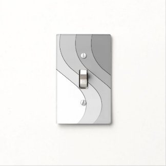 Tonal Wave Silver Gray Striped Light Switch Cover