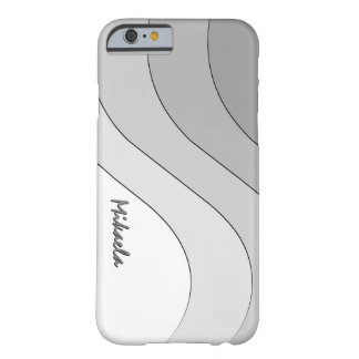 Tonal Wave Silver Gray Striped Personalized Barely There iPhone 6 Case
