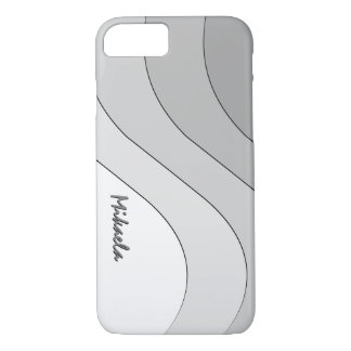 Tonal Wave Silver Gray Striped Personalized iPhone 7 Case