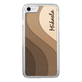 Tonal Wave Taupe Striped Carved iPhone 7 Case
