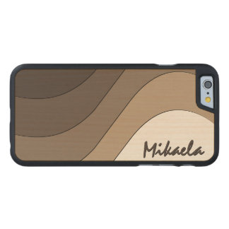 Tonal Wave Taupe Striped Personalized Carved Maple iPhone 6 Slim Case