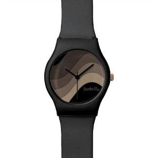 Tonal Wave Taupe Striped Personalized Wristwatch