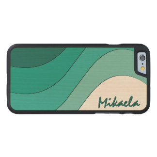 Tonal Wave Teal Striped Personalized Carved Maple iPhone 6 Slim Case