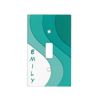 Tonal Wave Teal Striped Personalized Light Switch Cover