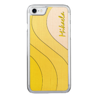 Tonal Wave Yellow Striped Carved iPhone 7 Case