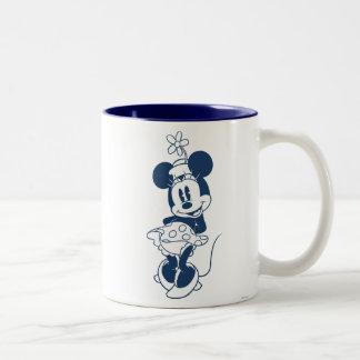 Tonalidad azul clásica de Minnie el | con la flor Taza De Dos Tonos