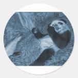 Tonalidad grande del azul del juego de la panda pegatina redonda