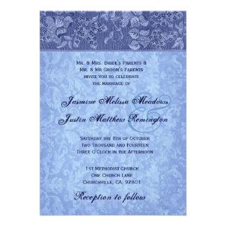 Tonalidades de la plantilla azul del boda del dama comunicados personales