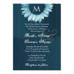 Tonalidades del boda coloreado azul del girasol invitacion personalizada