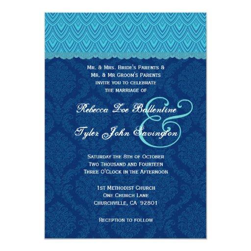 """Tonalidades del monograma azul del cordón de los invitación 5"""" x 7"""""""