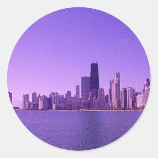 Tonalidades purpurinas profundas del horizonte de pegatina redonda