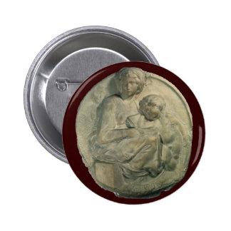 Tondo Pitti, Madonna and Child by Michelangelo 2 Inch Round Button