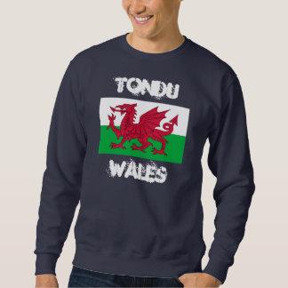 Tondu, Wales with Welsh flag Pullover Sweatshirt