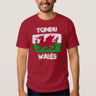 Tondu, Wales with Welsh flag Tee Shirt