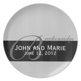 Tone on Tone Black and Gray Stripe Melamine Plate