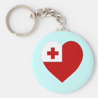 Tonga Flag Heart Keychain