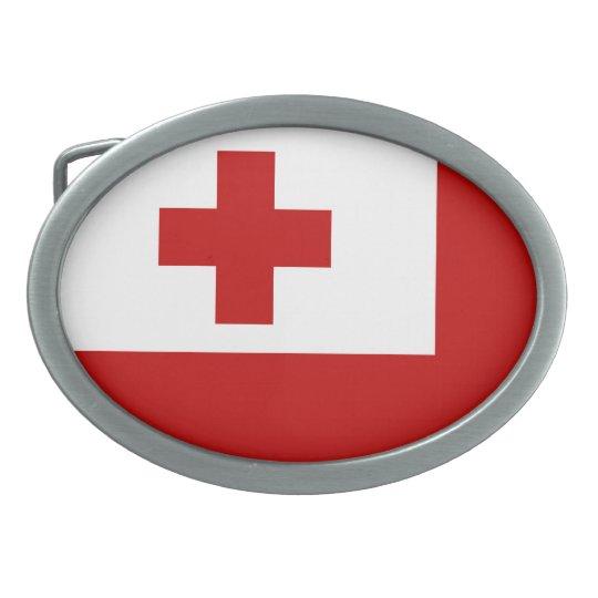 Tonga Flag Oval Belt Buckle