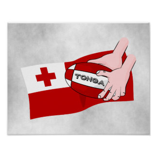 Tongan Flag Rugby Team Supporters Poster