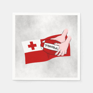 Tongan Flag with Rugby Ball Paper Napkin