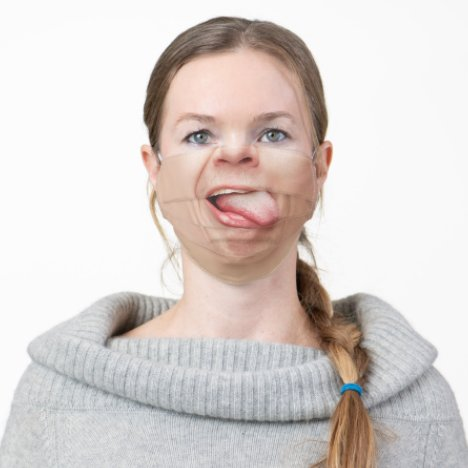 Tongue Funny Face Mask | Optical Illusion Mouth
