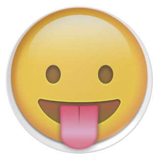 Tongue-Out Cheeky Emoji Dinner Plate