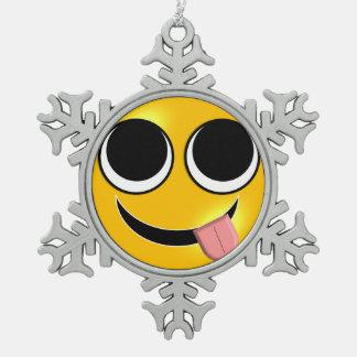 Tongue Out Emoji Snowflake Pewter Christmas Ornament