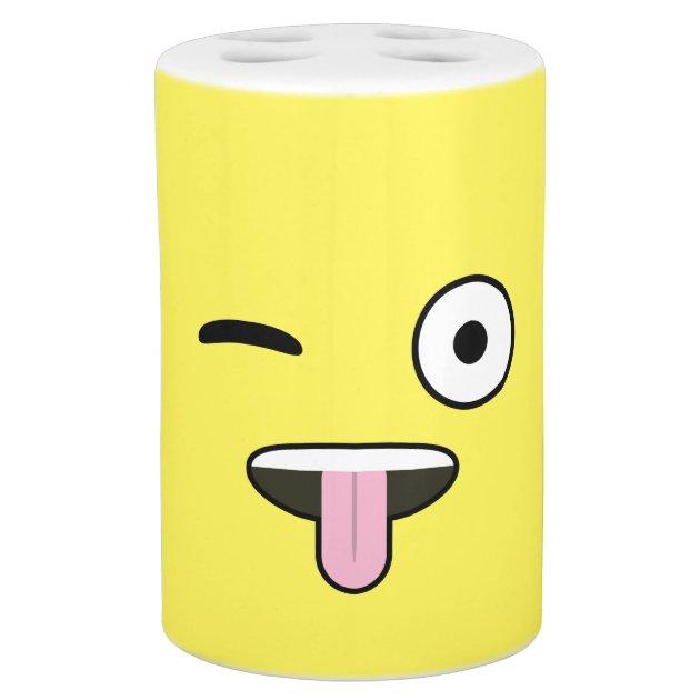Tongue Out Emoji Soap Dispenser Amp Toothbrush Holder Zazzle