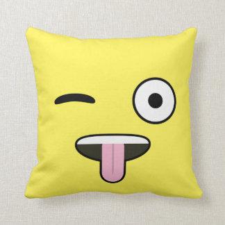 Tongue out Emoji Throw Pillow