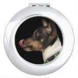 Tongue out of black and White Rat Terrier Makeup Mirror