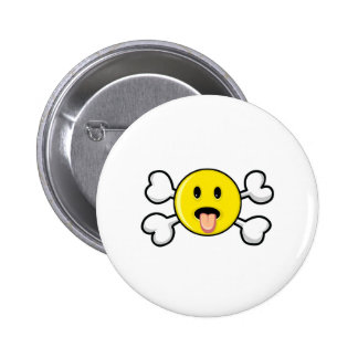 tongue smiley Skull and Crossbones Button