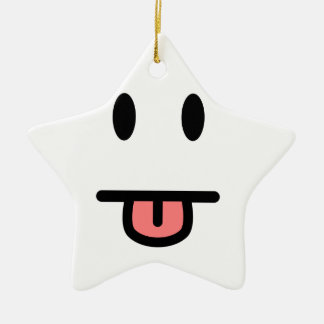 Tongue Sticking Out Face Double-Sided Star Ceramic Christmas Ornament