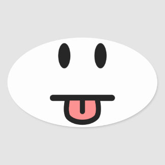 Tongue Sticking Out Face Oval Sticker