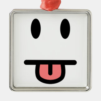 Tongue Sticking Out Face Square Metal Christmas Ornament